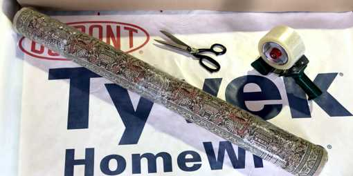 Tyvek wrap on a rug