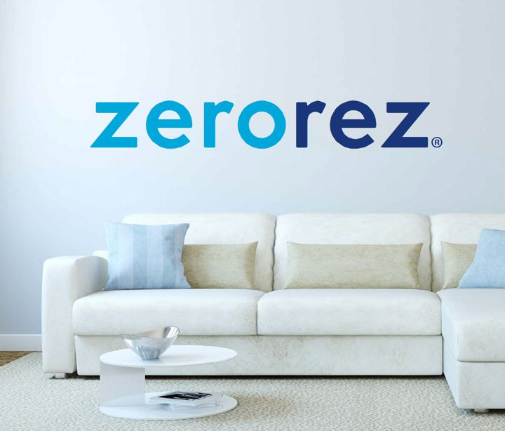 Zerorez Rug Cleaning Logo over a couch